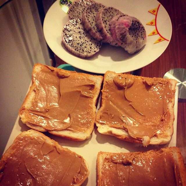 Peanut butter with dragon fruit